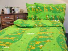 Krepové povlečení LUX 70x90-140x200 zelené žirafky