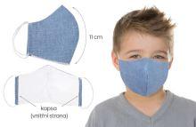 Rouška dětská bavlněná s vnitřní kapsou modrá (délka oblouku 11cm)