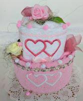 Veratex Textilní dort dvoupatrový růžovo/bílý