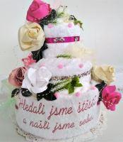 Veratex Textilní dort třípatrový s vyšitým mottem