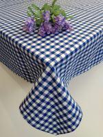 Bavlněný ubrus tkaný 120x140cm kanafas modré srdíčko