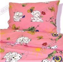 Dětské povlečení krep LUX 45x64 90x130 růžový dalmatin