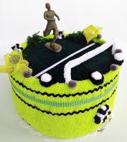 Veratex Fotbalový textilní dort (1ks osuška 70/140+ 1ks ručník30/50cm) možnost dovyšití jména/přezdívky