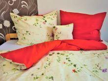 Bavlněné povlečení  70x90 - 140x200 květ / červená