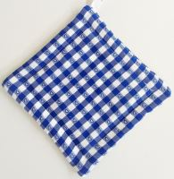Textilní podložka pod hrnec 20x20cm modrý kanafas tkaný