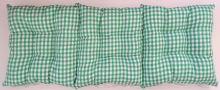 Sedák na lavici prošívaný 140 x 40 x 7,5cm tkaný kanafas zelené srdíčko