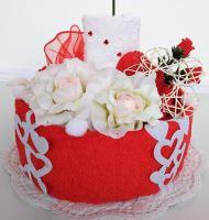 Veratex Textilní dort pro Vašeho miláčka svícen 1ks ručník + 1ks dětský ručník