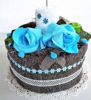 Veratex Textilní dort svícen šedo/bílý 2x ručník SKLADEM POSLEDNÍ 1KS