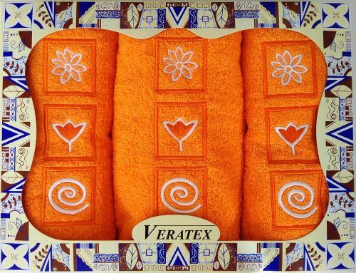 Luxusní dárkový froté set 1 osuška 2 ručníky (oranžová)