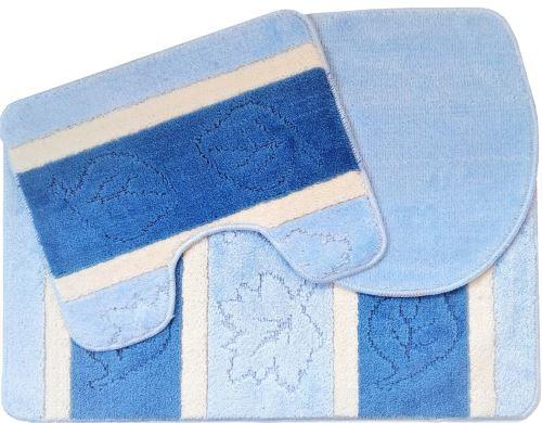 Koupelnová předložka LUX 3-dílný set modré lísty