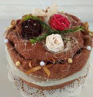 Veratex Textilní dort hnědý růžičky