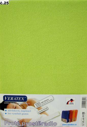 Froté prostěradlo 100x220 cm (č.25-žlutozelená)
