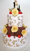 Veratex Textilní dort třípatrový hnědo bílý
