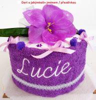 Veratex Textilní dort lilie jednopatrový s výšivkou jména  (výběr z 22 barev ručníků)