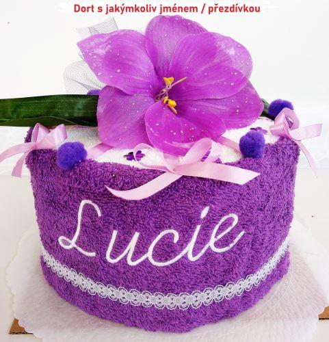 Veratex Textilní dort lilie jednopatrový s výšivkou jména  (výběr z 22 barev)