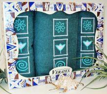 Luxusní dárkový froté set 1 osuška 2 ručníky (tm.zelená)