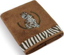 Froté ručník s výšivkou Leopard 500g 50x100 cm (hnědý)