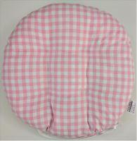 Sedák prošívaný kulatý průměr 40 cm tkaný kanafas růžové srdíčko