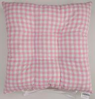 Sedák prošívaný 40x40 cm tkaný kanafas růžové srdíčko