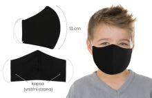 Rouška dětská bavlněná s vnitřní kapsou černá (délka oblouku 13cm)