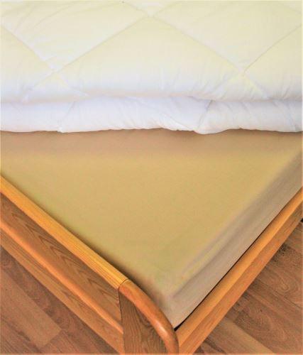 Bavlněné prostěradlo dvoulůžko 220x240 cm (béžové)