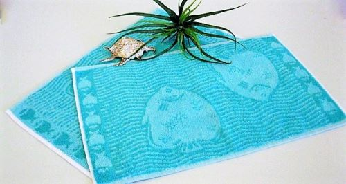 Dětský froté ručník 30x50 cm zelené rybky