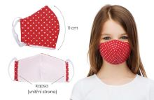 Rouška dětská bavlněná s vnitřní kapsou červený puntík (délka oblouku 11cm)
