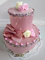 Veratex Luxusní textilní dort dvoupatrový marcipán (růžový)