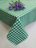 Bavlněný ubrus tkaný 120x140cm kanafas zelené srdíčko