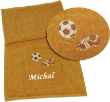 Ručník výšivkou fotbalové kopačky a míče + jméno 50x100 rezavá (zakázkový produkt dodání do 14 dní)