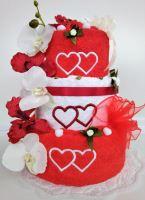 Veratex Textilní dort třípatrový vyšitá srdíčka 1ks osuška 2ks ručník