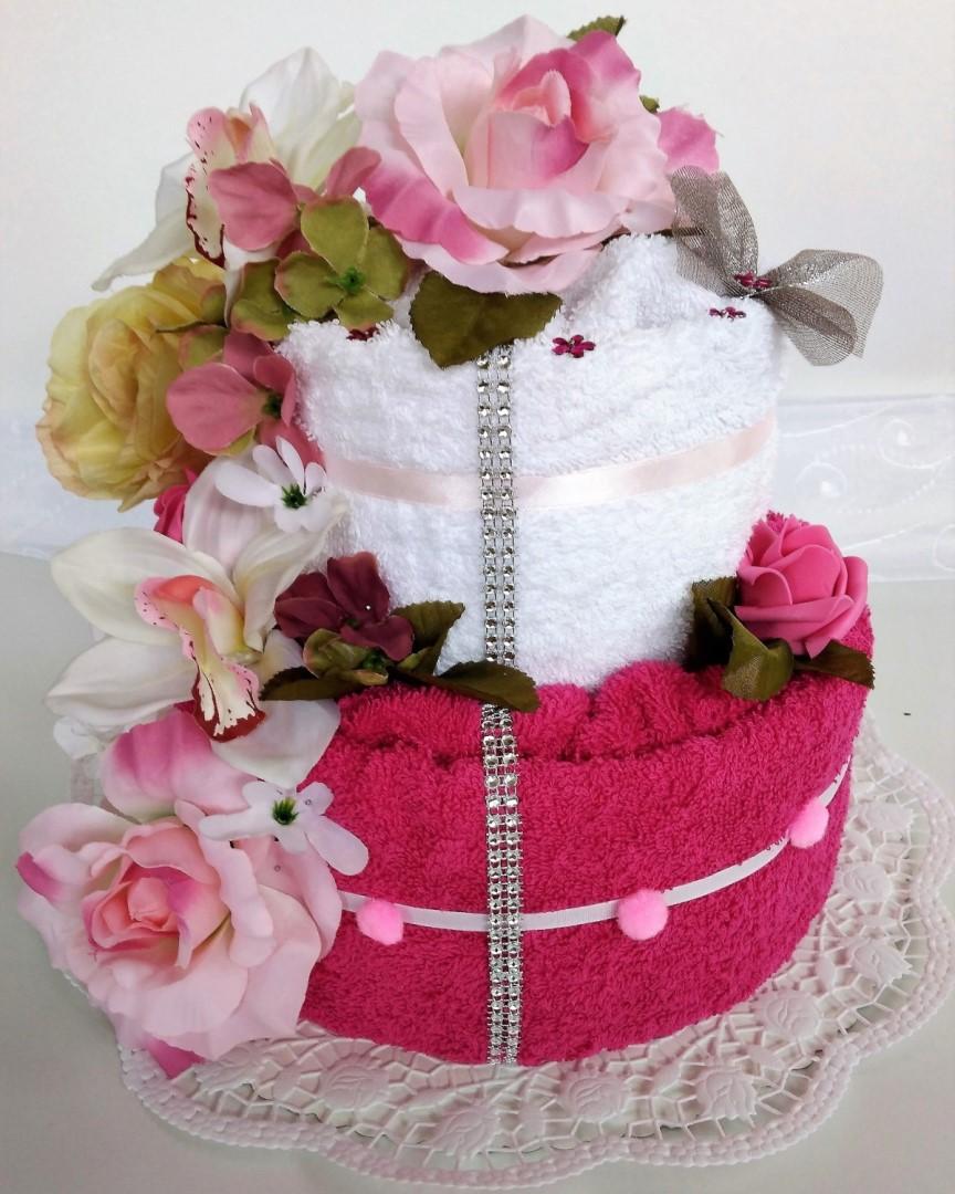 e76e307a2f19 Veratex Textilní dort dvoupatrový růžová růže