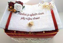 Veratex Textilní dort kniha s výšitým mottem