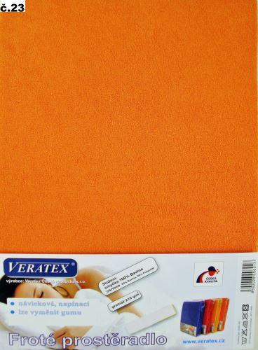 Froté prostěradlo jednolůžko 90x200/25cm (č.23-oranžové)