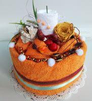 Veratex Textilní dort svícen rezavo/ bílý (1ks osuška/1ks ručník)