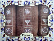 Luxusní dárkový froté set 1 osuška 2 ručníky (hnědá)