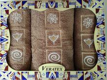 Luxusní dárkový froté set 1 osuška 2 ručníky (béžová)