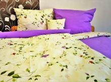 Přehoz na postel bavlna140x200 květ / fialka