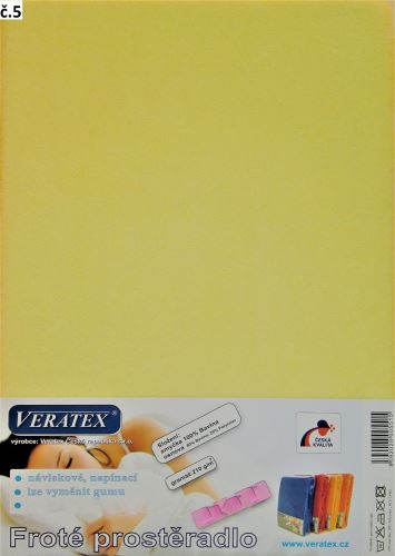 Froté prostěradlo  80x200/16 cm (č. 5-sv.žlutá)