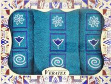 Luxusní dárkový froté set 1 osuška 2 ručníky (azurová)