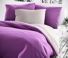 Saténové povlečení prodloužené  70x90 + 140x220 cm fialové/šedé