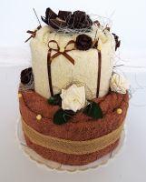 Veratex Textilní dort dvoupatrový béžovová růže