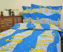 Krepové povlečen LUX 70x90-140x200 modré žirafky