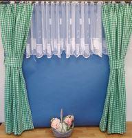 Závěs tkaný kanafas zelené srdíčko - výška 280/ šířka 140cm