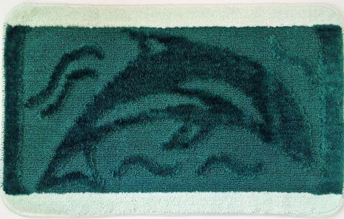 Koupelnová předložka 50x80 cm tm.zelený delfín