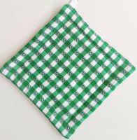 Textilní podložka pod hrnec 20x20cm zelený kanafas tkaný