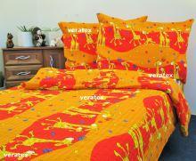 Bavlněné povlečení LUX 70x90-140x200 červené žirafky