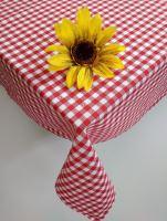 Bavlněný ubrus tkaný 120x140cm kanafas červené srdíčko