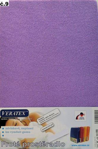 Froté prostěradlo 100x200/16 cm (č. 9-tm.fialová)