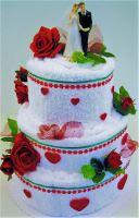 Veratex Textilní dort - třípatrový červená růže